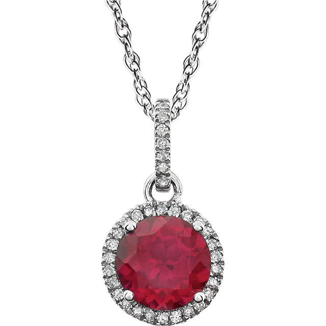 Wonderful 14 Karat White Gold Created Ruby & 0.10 Carat Total Weight Diamond 18