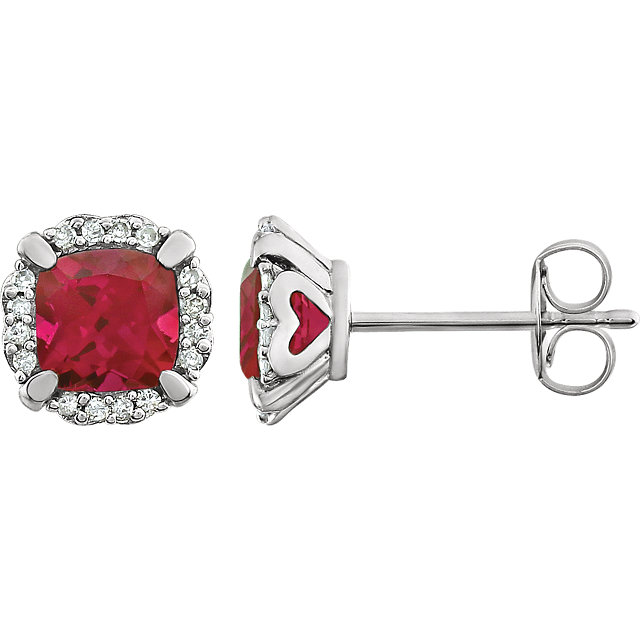 Easy Gift in 14 Karat White Gold Created Ruby & 0.10 Carat Total Weight Diamond Earrings