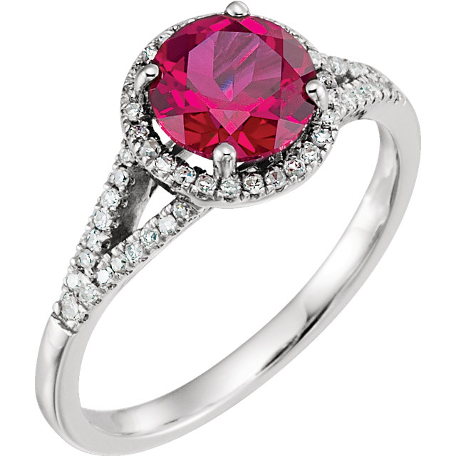 Perfect Jewelry Gift 14 Karat White Gold Created Ruby & 0.17 Carat Total Weight Diamond Ring