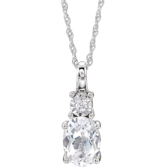 Appealing Jewelry in 14 Karat White Gold Created White Sapphire & .02 Carat Total Weight Diamond 18