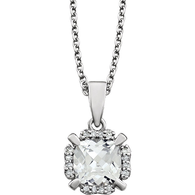 Surprise Her with  14 Karat White Gold Created White Sapphire & .05 Carat Total Weight Diamond 18