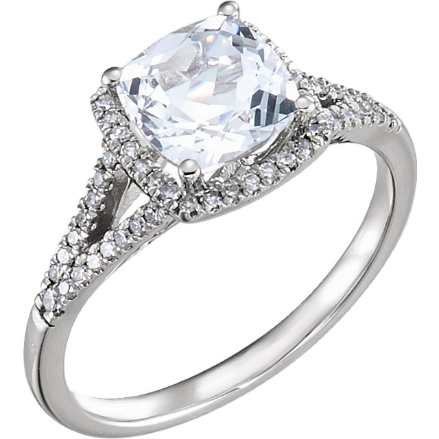 Shop 14 Karat White Gold White Sapphire & 0.20 Carat Diamond Ring