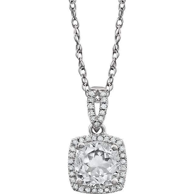 Gorgeous 14 Karat White Gold Created White Sapphire & 0.12 Carat Total Weight Diamond 18