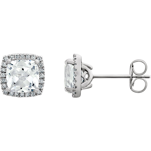 Great Gift in 14 Karat White Gold Created White Sapphire & 0.12 Carat Total Weight Diamond Earrings