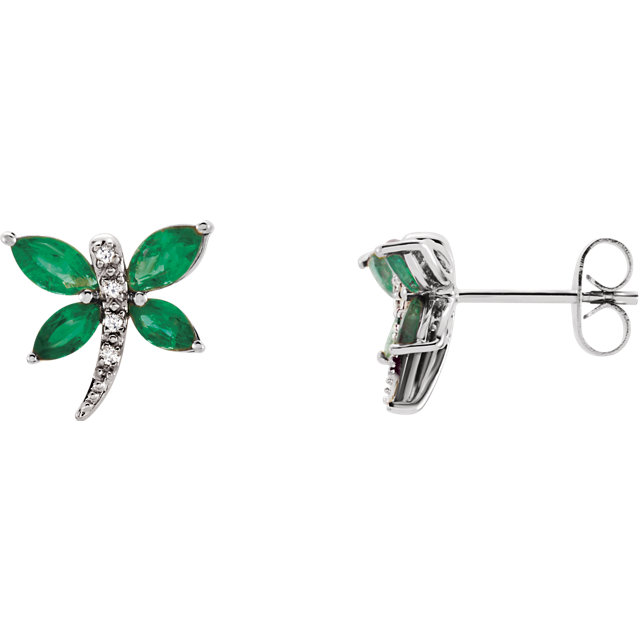 14 Karat White Gold Emerald & .04 Carat Diamond Earrings