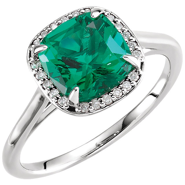 14 Karat White Gold Genuine Chatham Emerald & .055 Carat Diamond Halo-Style Ring
