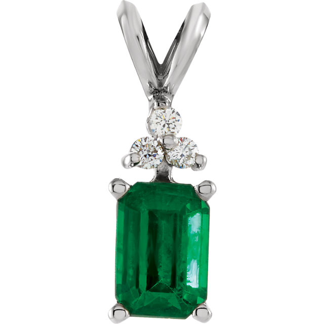 Eye Catching 14 Karat White Gold Emerald Genuine & .06 Carat Total Weight Diamond Pendant
