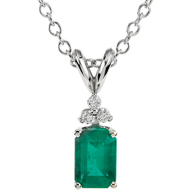 Captivating 14 Karat White Gold Emerald Genuine & .06 Carat Total Weight Diamond 18