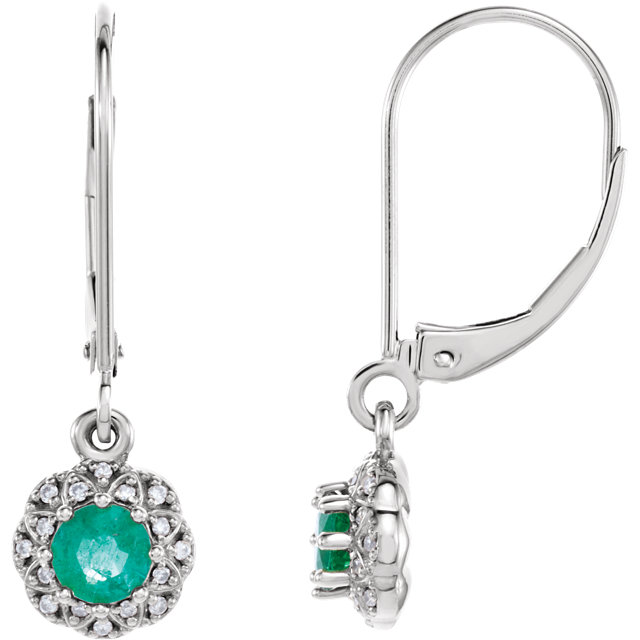 Fine Quality 14 Karat White Gold Emerald & .08 Carat Total Weight Diamond Earrings