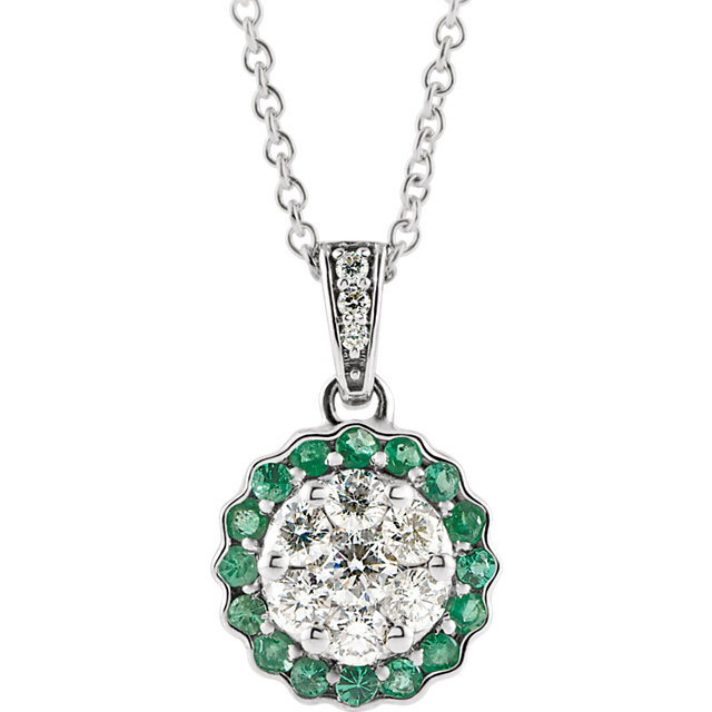Graceful 14 Karat White Gold Round Genuine Emerald & 1/3 Carat Total Weight Diamond Necklace