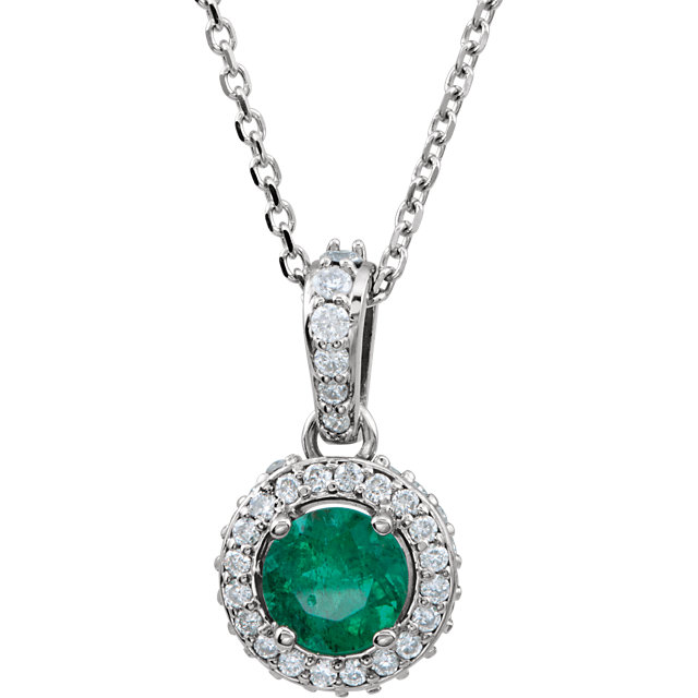 Terrific 14 Karat White Gold Round Genuine Emerald & 1/5 Carat Total Weight Diamond 18