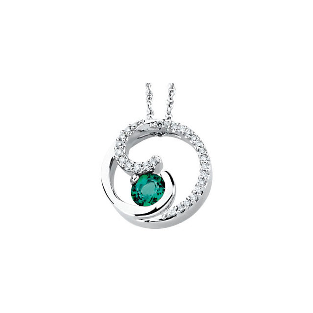 Wonderful 14 Karat White Gold Round Genuine Emerald & 1/4 Carat Total Weight Diamond Pendant
