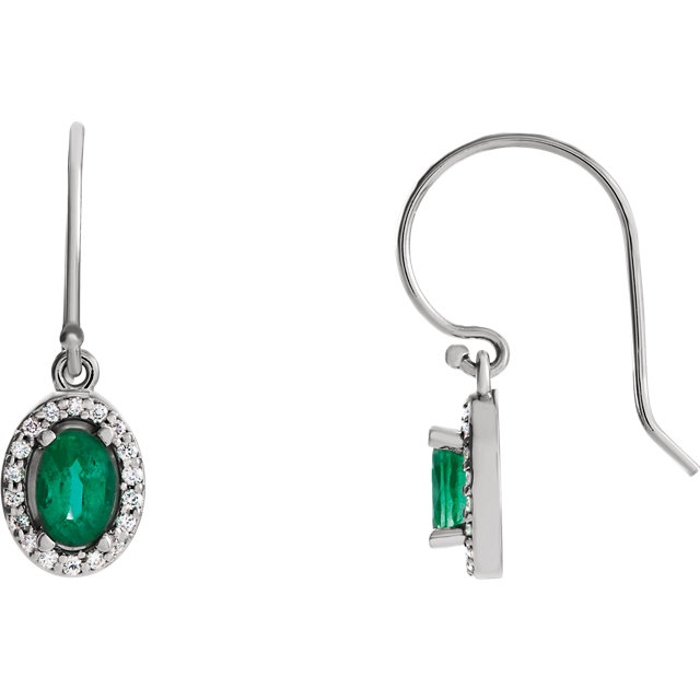 14 Karat White Gold Emerald & 0.20 Carat Diamond Earrings