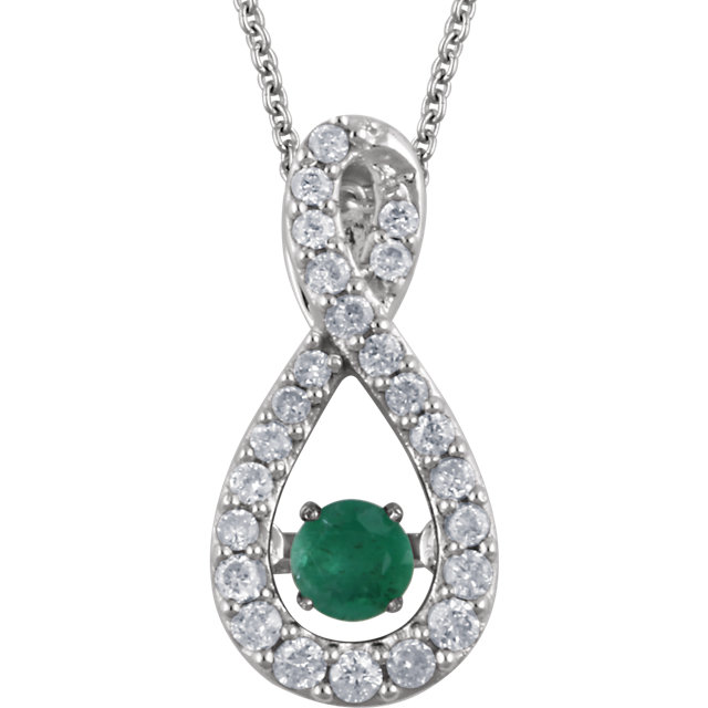 Chic 14 Karat White Gold Round Genuine Emerald & 1/6 Carat Total Weight Diamond 18