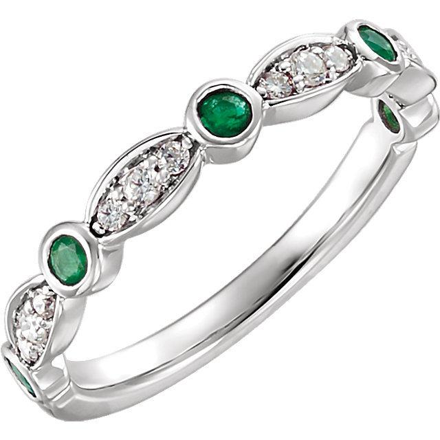 Captivating 14 KT White Gold Round Genuine Emerald & 0.17 Carat TW Diamond Ring
