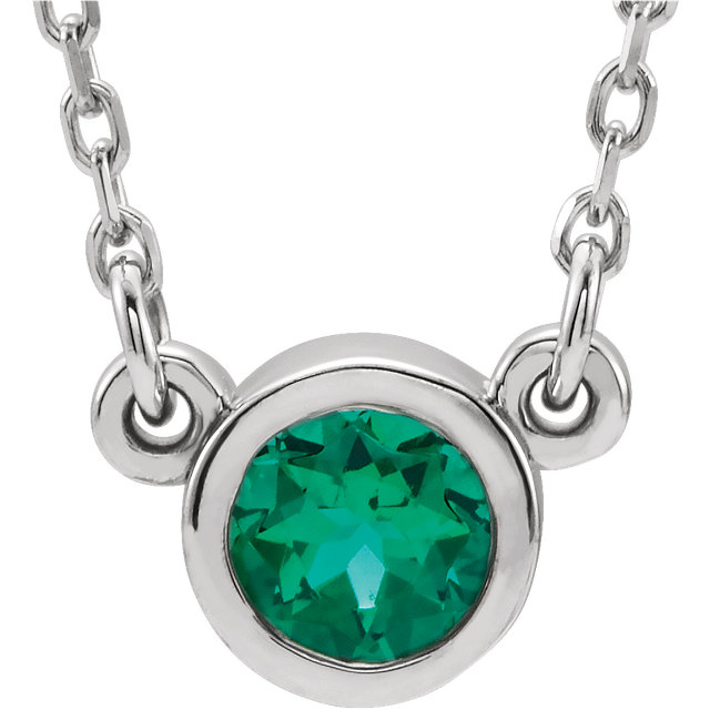 Eye Catching 14 Karat White Gold Round Genuine Emerald 16