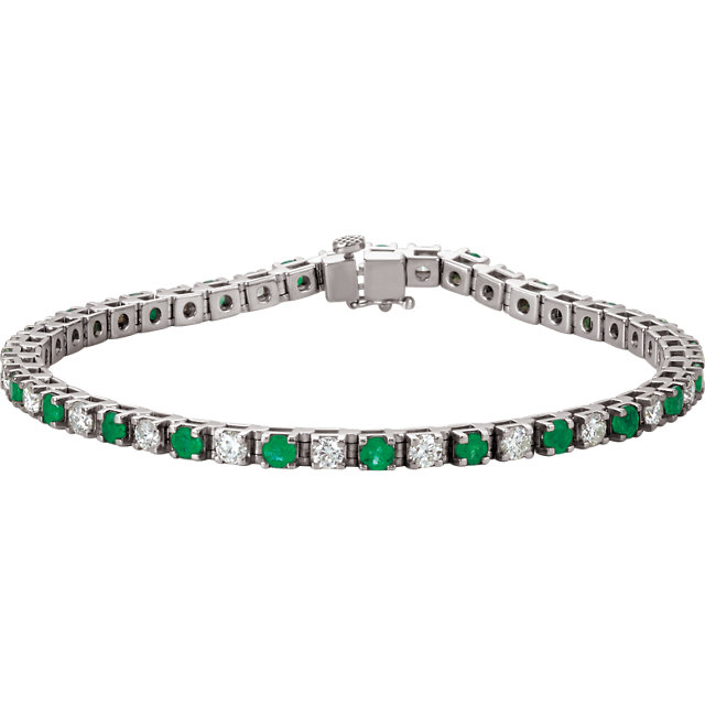 Pleasing 14 Karat White Gold Round Genuine Emerald & 2 1/3 Carat Total Weight Diamond Bracelet