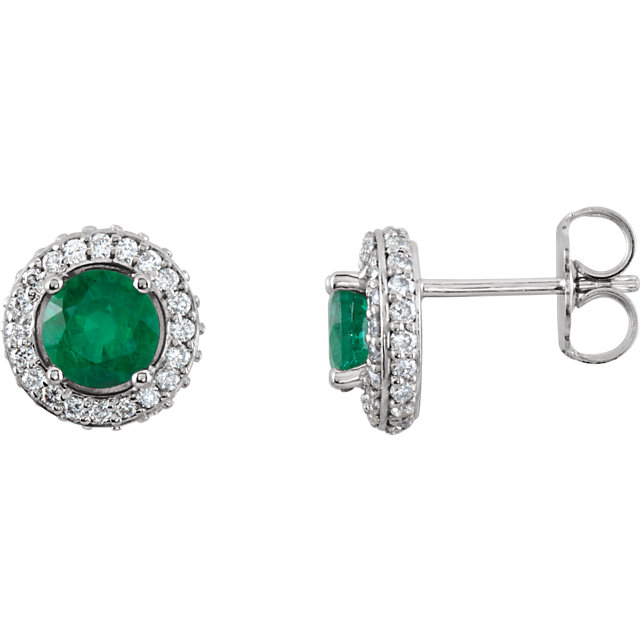 Genuine 14 Karat White Gold Emerald & 0.33 Carat Diamond Earrings