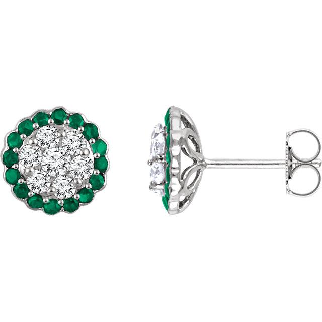 14 Karat White Gold Emerald & 0.60 Carat Diamond Earrings