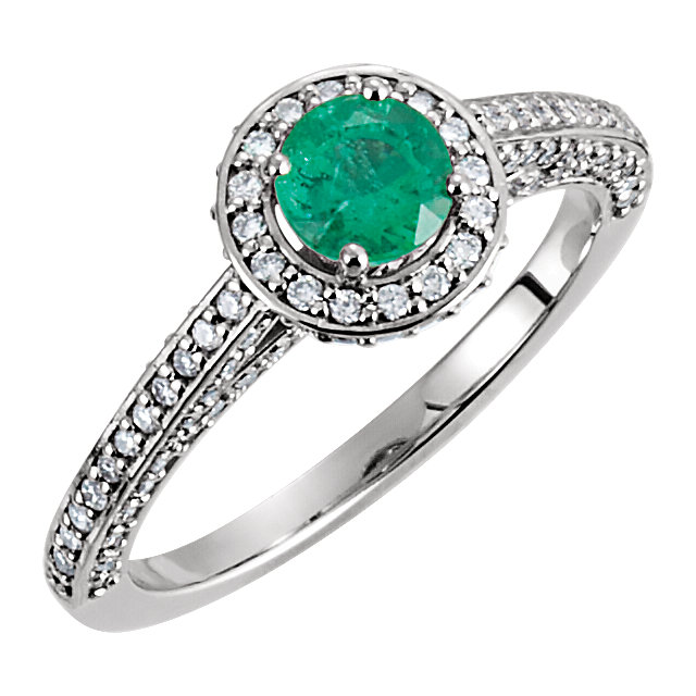 Contemporary 14 Karat White Gold Emerald & 0.60 Carat Total Weight Diamond Engagement Ring