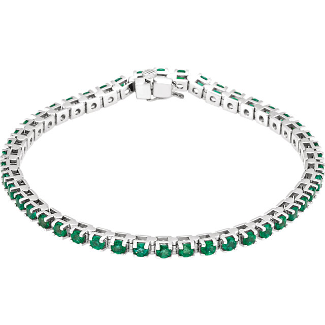 Lovely 14 Karat White Gold Round Genuine Emerald Line Bracelet