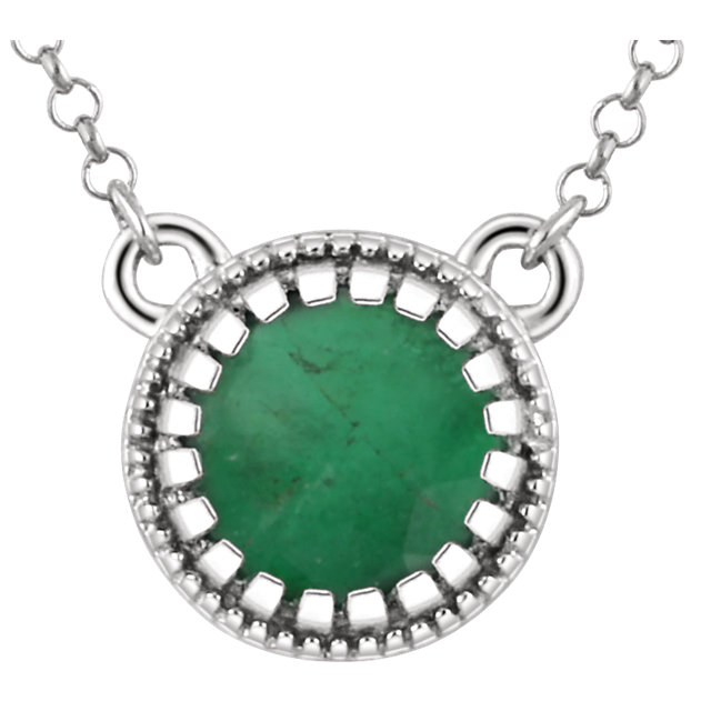 Remarkable 14 Karat White Gold Round Genuine Emerald