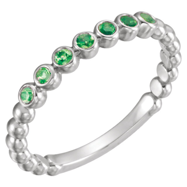 Stunning 14 Karat White Gold Emerald Stackable Ring
