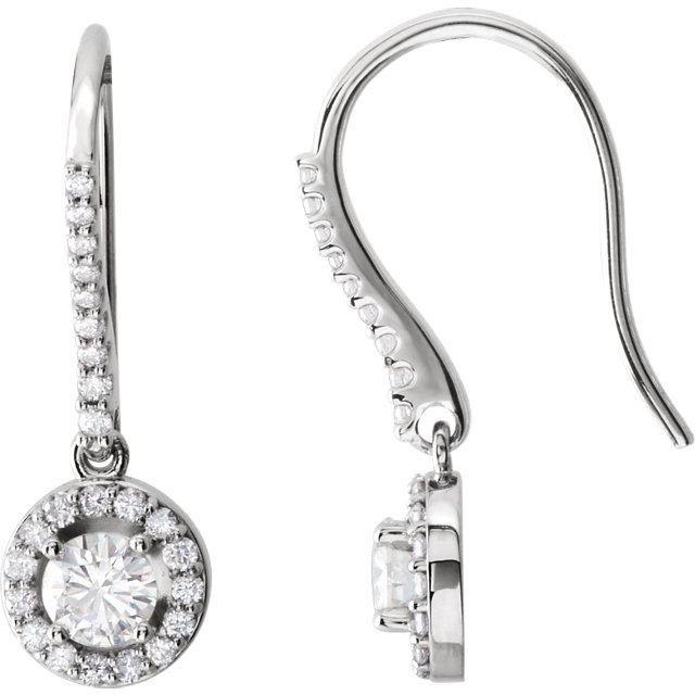 14KT White Gold Forever Brilliant Moissanite & 3/8 Carat Total Weight Diamond Halo-Style Earrings