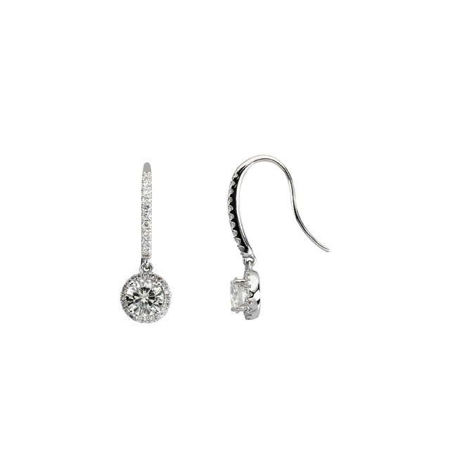 14KT White Gold Forever Classic Moissanite & 3/8 Carat Total Weight Diamond Halo-Style Earrings