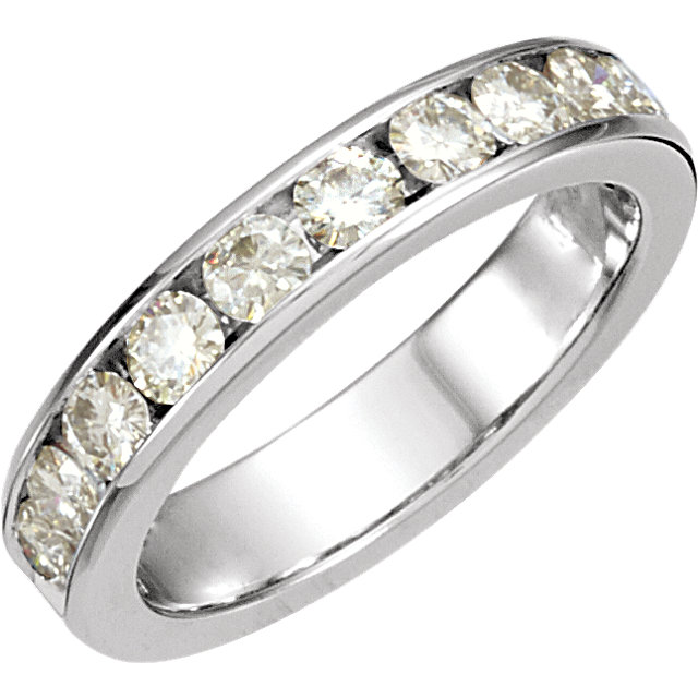 14 KT White Gold Forever Classic Moissanite Anniversary Band Size 7
