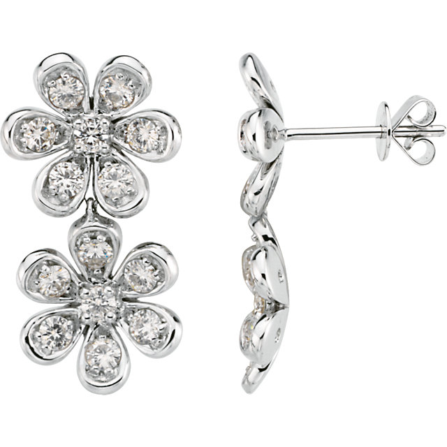 14KT White Gold Forever Classic Moissanite Flower Earrings