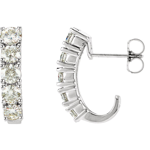 14KT White Gold Forever Classic Moissanite J-Hoop Earrings