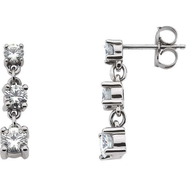 14KT White Gold Forever Classic Moissanite Three-Stone Linear Earrings
