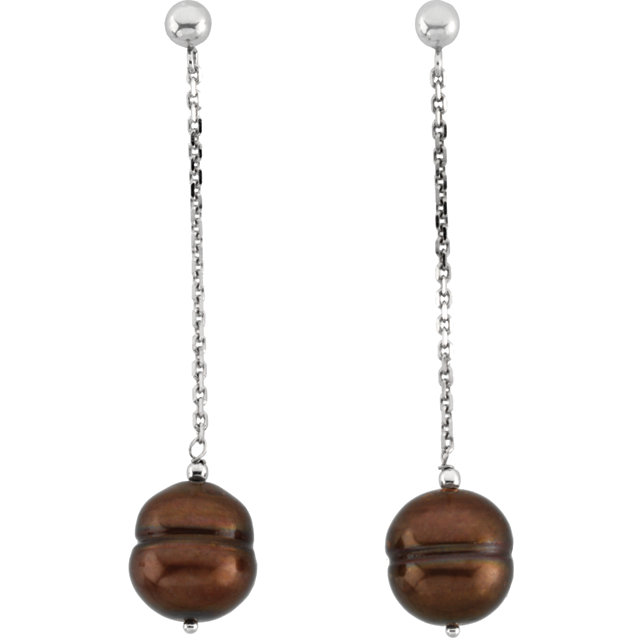 14 KT White Gold Freshwater Cultured Dyed Chocolate Pearl Earrings