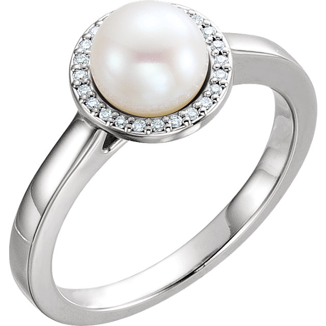 Chic 14 Karat White Gold Freshwater Cultured Pearl & .06 Carat Total Weight Diamond Halo-Style Ring