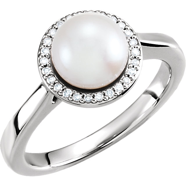 Exquisite 14 Karat White Gold Genuine Freshwater Cultured Pearl & .07 Carat Total Weight Diamond Halo-Style Ring