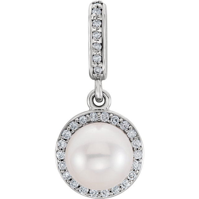 Fine Quality 14 Karat White Gold Freshwater Cultured Pearl & 0.10 Carat Total Weight Diamond Pendant