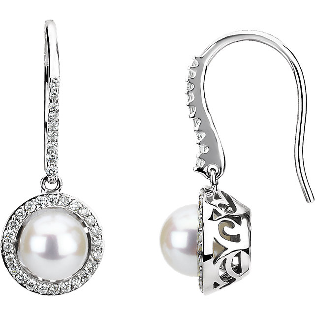 Chic 14 Karat White Gold Freshwater Cultured Pearl & 0.50 Carat Total Weight Diamond Earrings