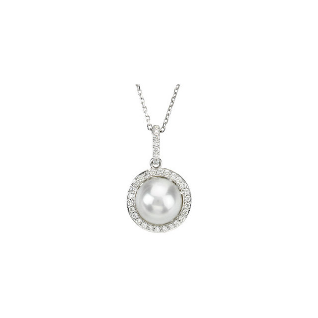 Cultured Freshwater Pearl Necklace in 14 Karat  Gold Freshwater Cultured Pearl & 0.33 Carat Diamond 18