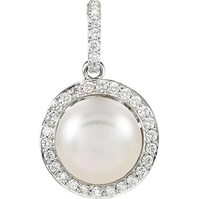 Great Gift in 14 Karat White Gold Freshwater Cultured Pearl & 0.33 Carat Total Weight Diamond Pendant