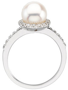 14KT White Gold Freshwater Cultured Pearl & 1/5 Carat Total Weight Diamond Ring