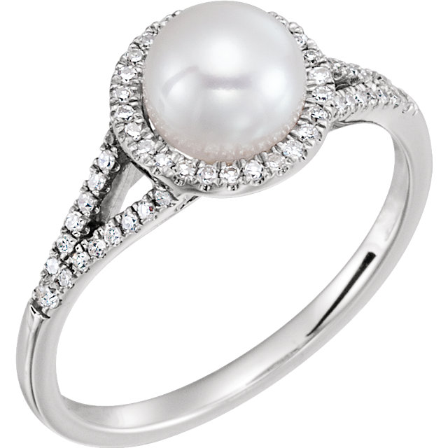Surprise Her with  14 Karat White Gold Freshwater Cultured Pearl & 0.20 Carat Total Weight Diamond Ring