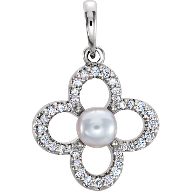 Fine Quality 14 Karat White Gold Freshwater Cultured Pearl & 0.17 Carat Total Weight Diamond Pendant