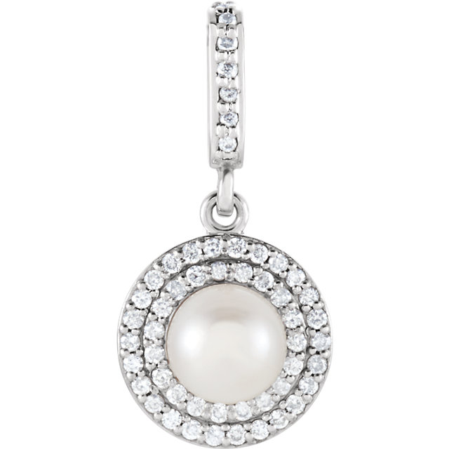 Appealing Jewelry in 14 Karat White Gold Freshwater Cultured Pearl & 0.12 Carat Total Weight Diamond Pendant