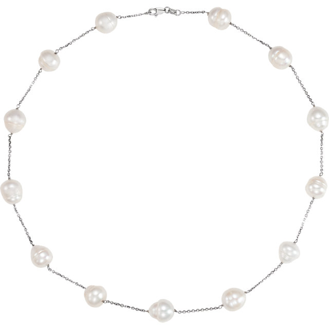 14 KT White Gold Freshwater Cultured Pearl 18