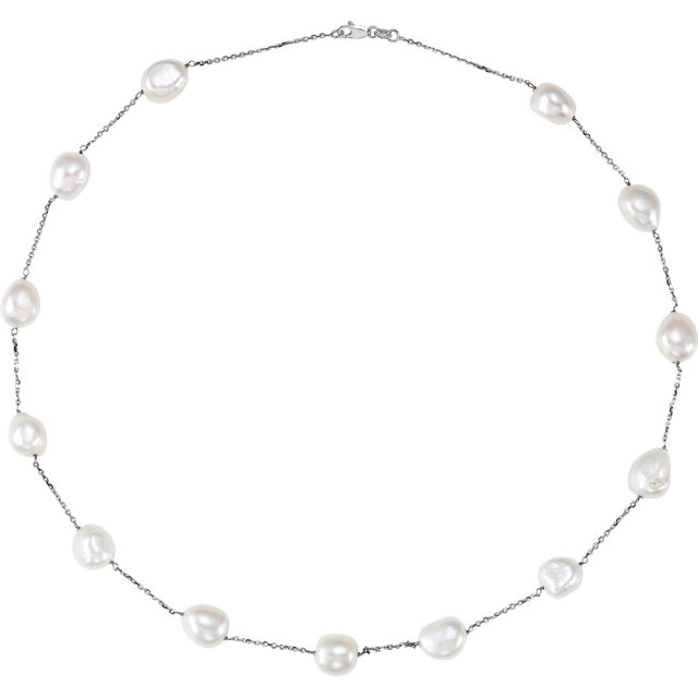 Contemporary 14 Karat White Gold Freshwater Cultured Pearl 20