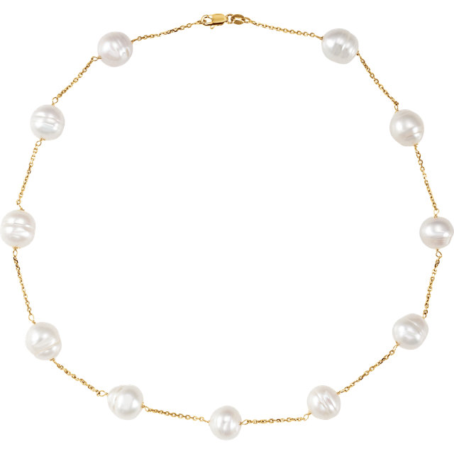 14 KT White Gold Freshwater Cultured Pearl 8
