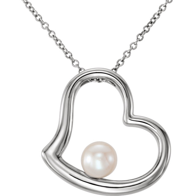 Fine 14 KT White Gold Freshwater Cultured Pearl Heart 18
