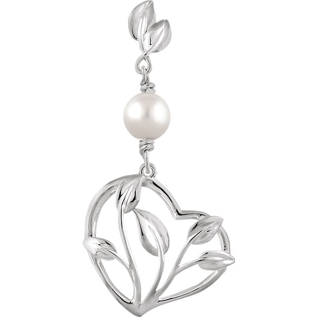 Great Gift in 14 Karat White Gold Freshwater Cultured Pearl Leaf Heart Pendant