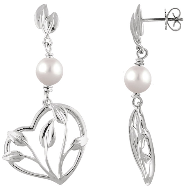 14 KT White Gold Freshwater Cultured Pearl Leaf & Heart Earrings